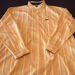 CHAPS orange striped casual button down XXL